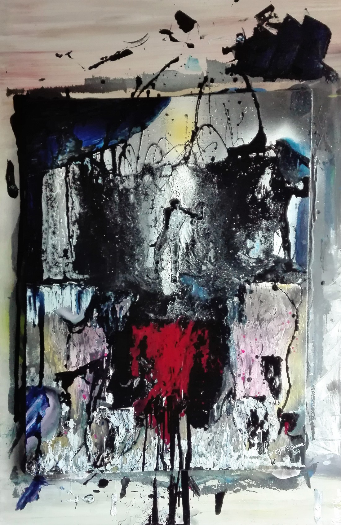 LET ME CROSS - Mixed Media on double canvas 115X75 80X60