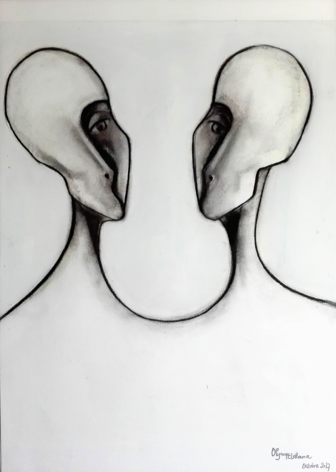 ARE YOU MY OTHER HALF OR IS IT JUST ME Fusain sur papier 65X50